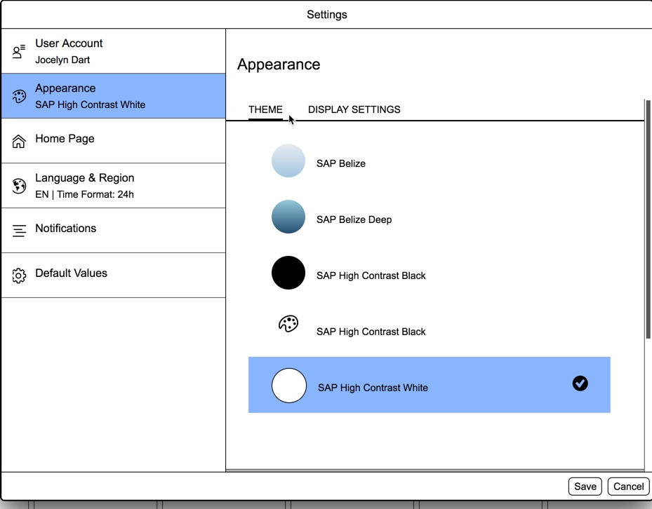 Fiori Launchpad Settings showing Theme selection