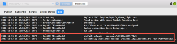 Using MQTT fx as the MQTT simulation tool to post MQTT messages to