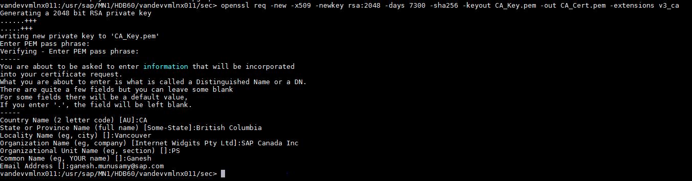 Server Side Ssl Configuration On Hana For Inter Node Communication