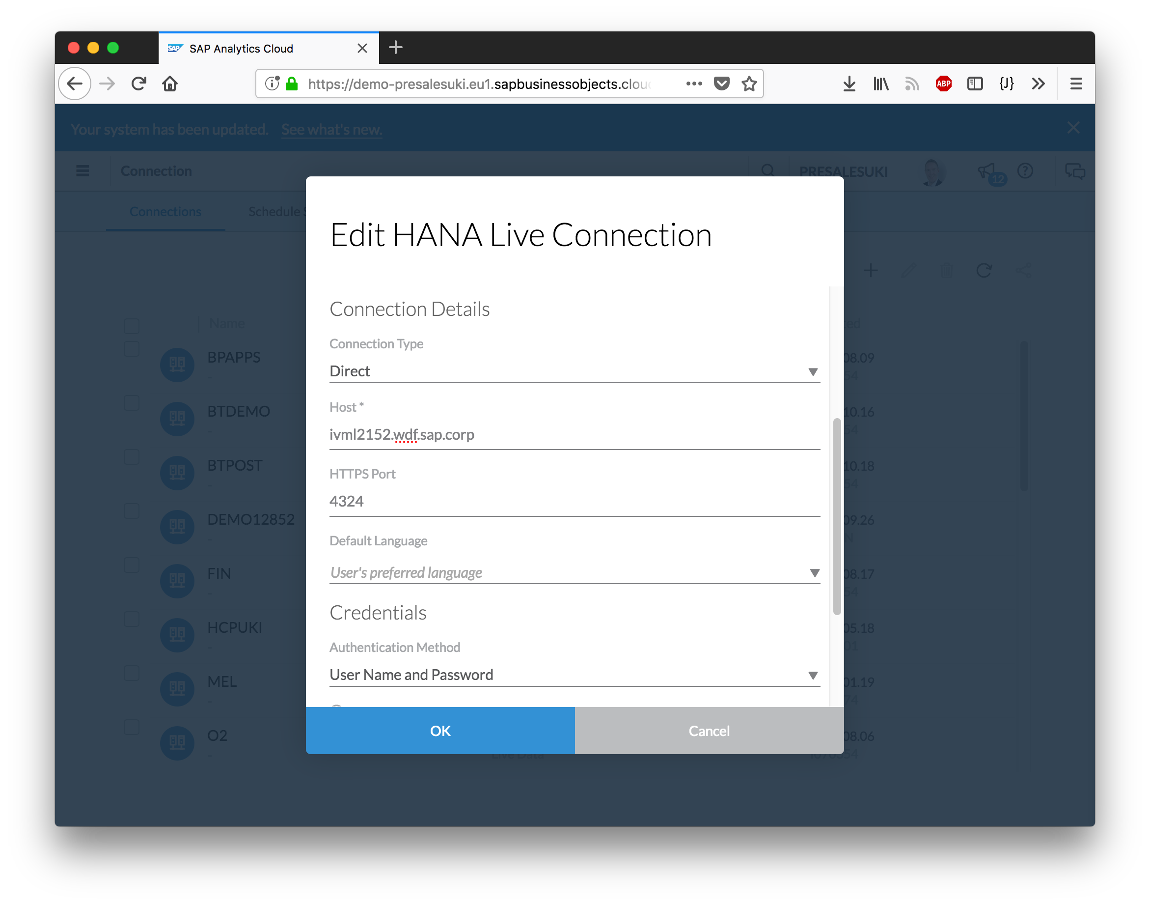 SAP Analytics Cloud Live Data Connection to HANA on-premise using