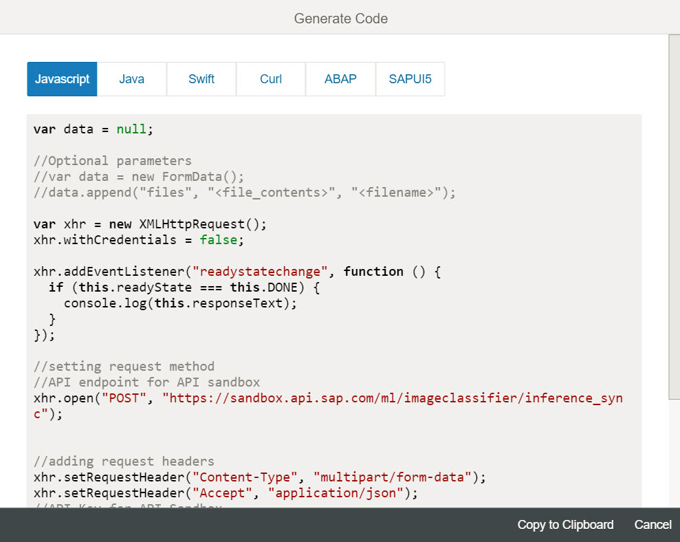 Consume machine learning api in sapui5 sap blogs the sample code can be generated in different style depends on usage here we are using generated javascript code in our application malvernweather Images