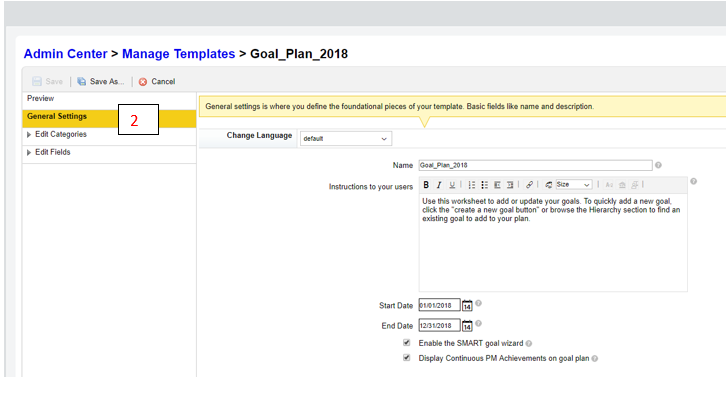 Select The General Settings Tab Check Display Continuous PM Achievements On Goal Plan Save