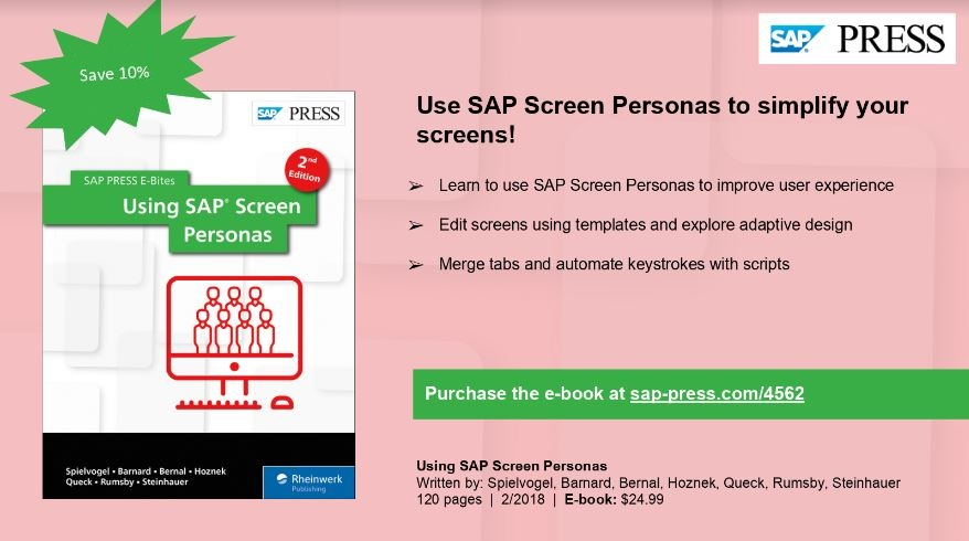 Uncategorized sap blogs page 366 all the other participants who are present during all the event day will get a special 10 discount coupon from sap press to be used to buy the using screen fandeluxe Image collections