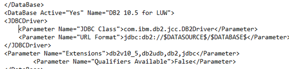 How to setup a JDBC driver using  sbo Extensions Parameter
