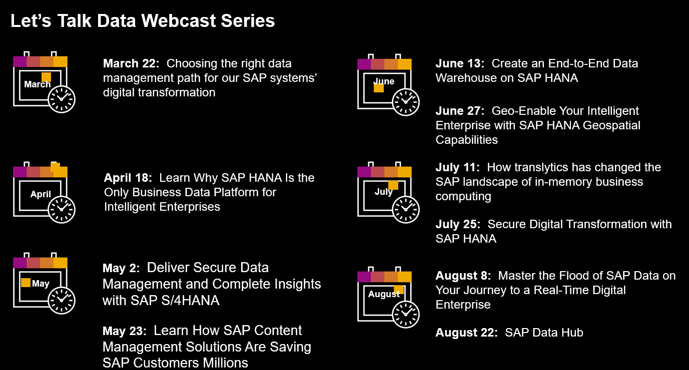 Let's Talk Data Webcast Series - Join us Live or Replay - SAP HANA