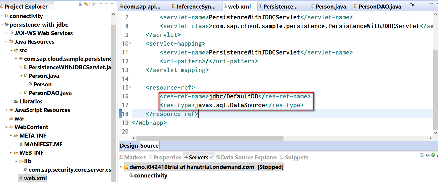 Use JDBC to connect to HANA database instance in SAP Cloud Platform