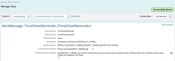configure reminder alerts for time sheets saved in draft for ec