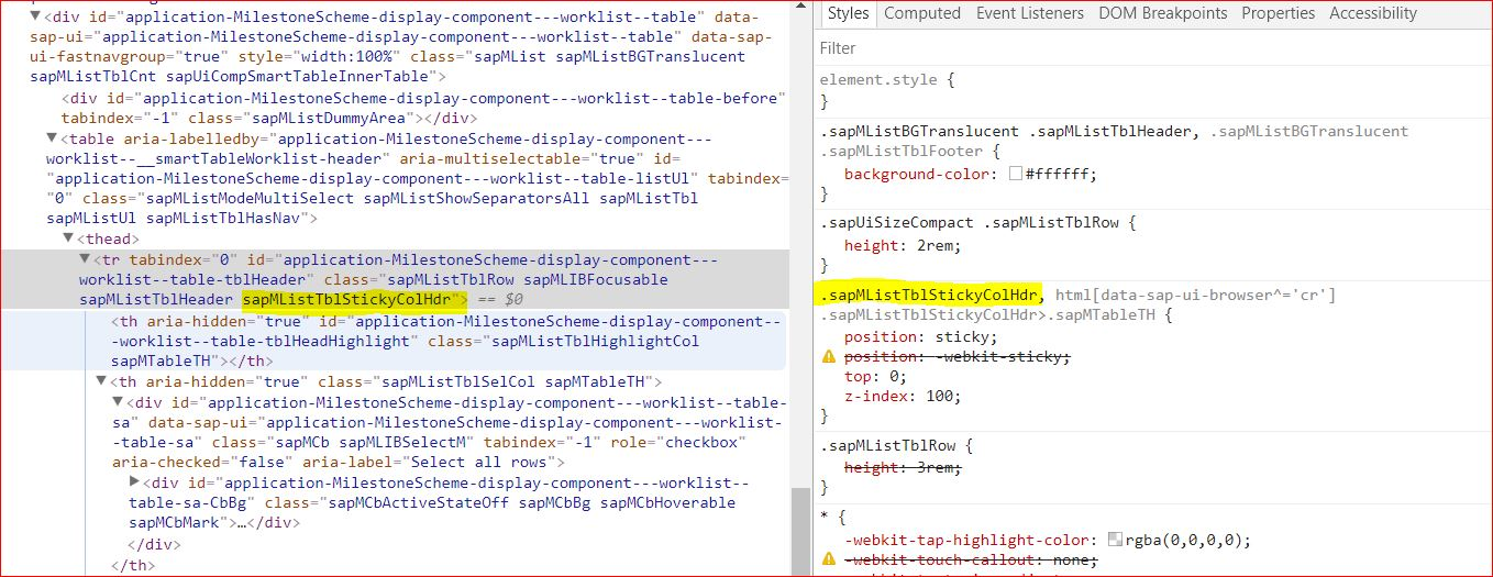 Fixed header for UI5 Smart Table | SAP Blogs
