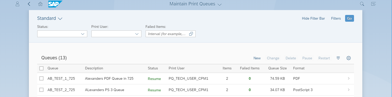 where is printer queue status
