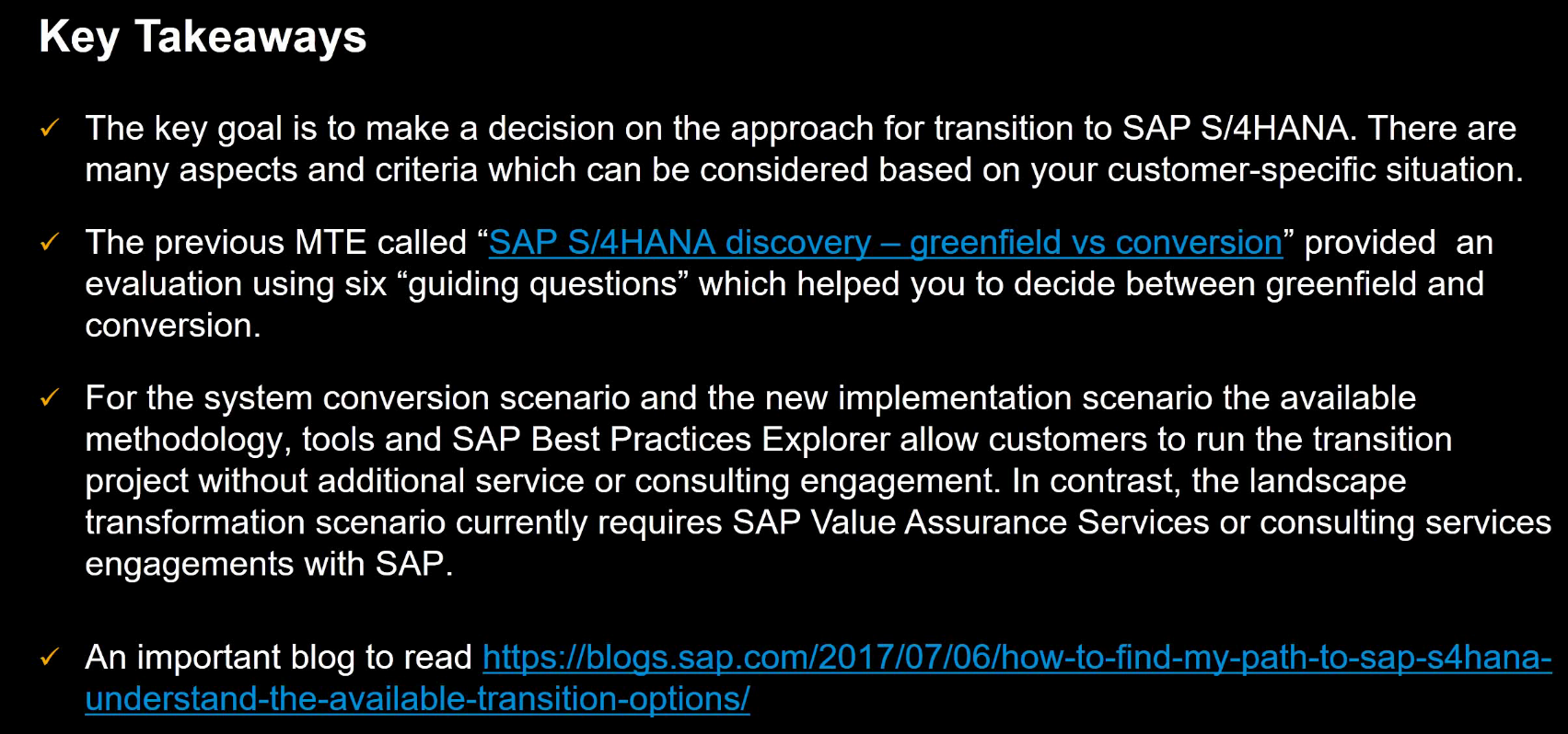 SAP S/4HANA Discovery – Transition Paths and Best Practices