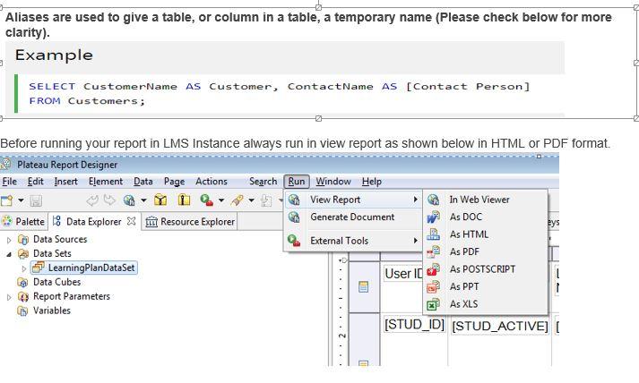Developing Basic LMS Custom Reports through Plateau Report