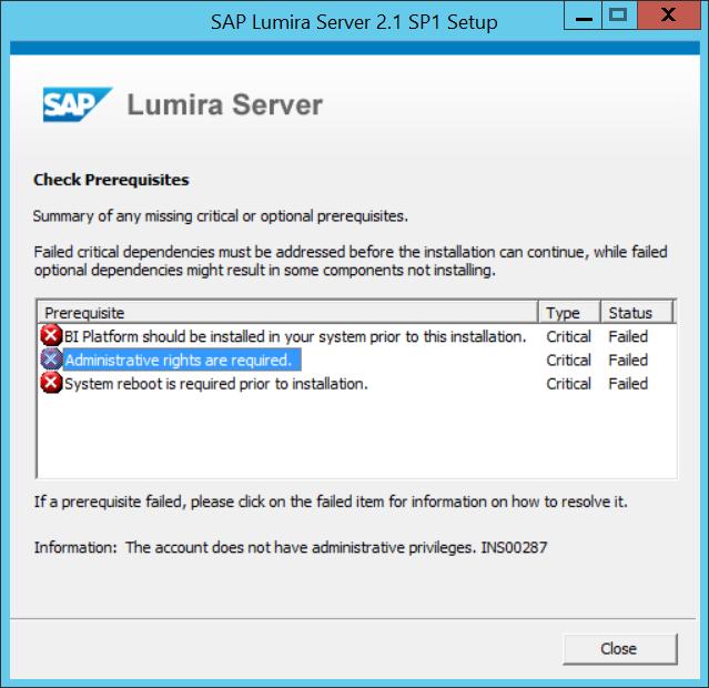 SAP Lumira Server Prerequisites and required BI Platform
