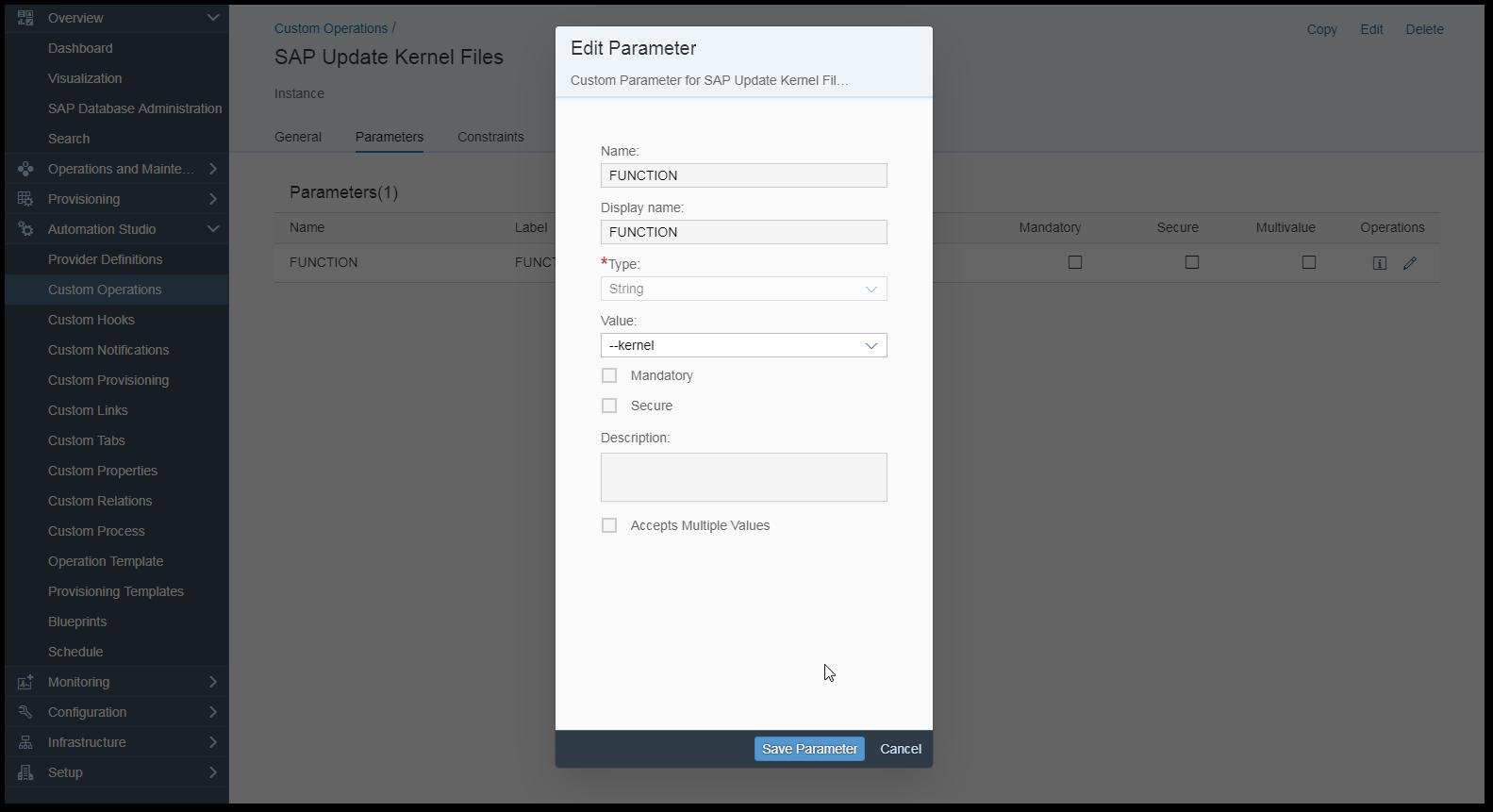 Custom Process Configuration with SAP Landscape Management