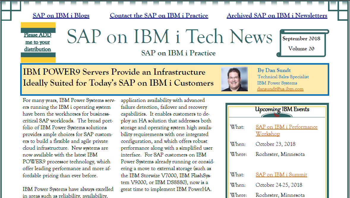 SAP on IBM i: September Newsletter and updated PTF lists