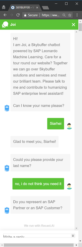 RECAST AI :: Robust Algorithm of Asking Chat User's First