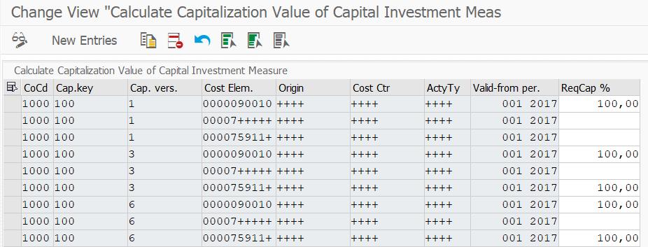 Differentiate asset capitalization values per depreciation