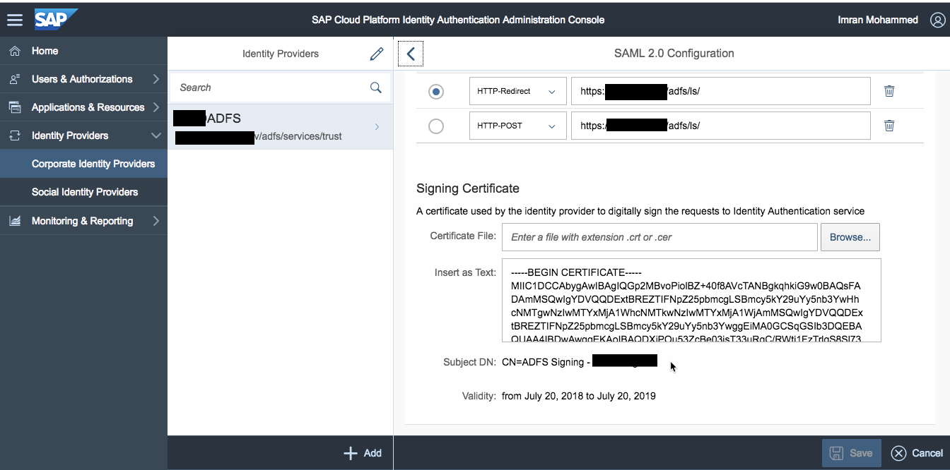 Part 1: SAP Cloud Platform Authentication setup using IAS with on