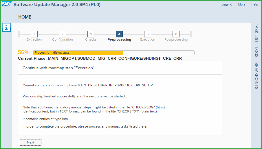 Conversion to S/4HANA 1809FPS0 – t6m – Software Update Manager from