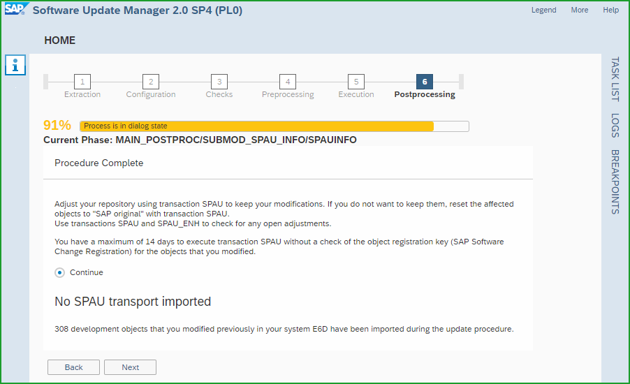 Conversion to S/4HANA 1809FPS0 – t6o – Software Update