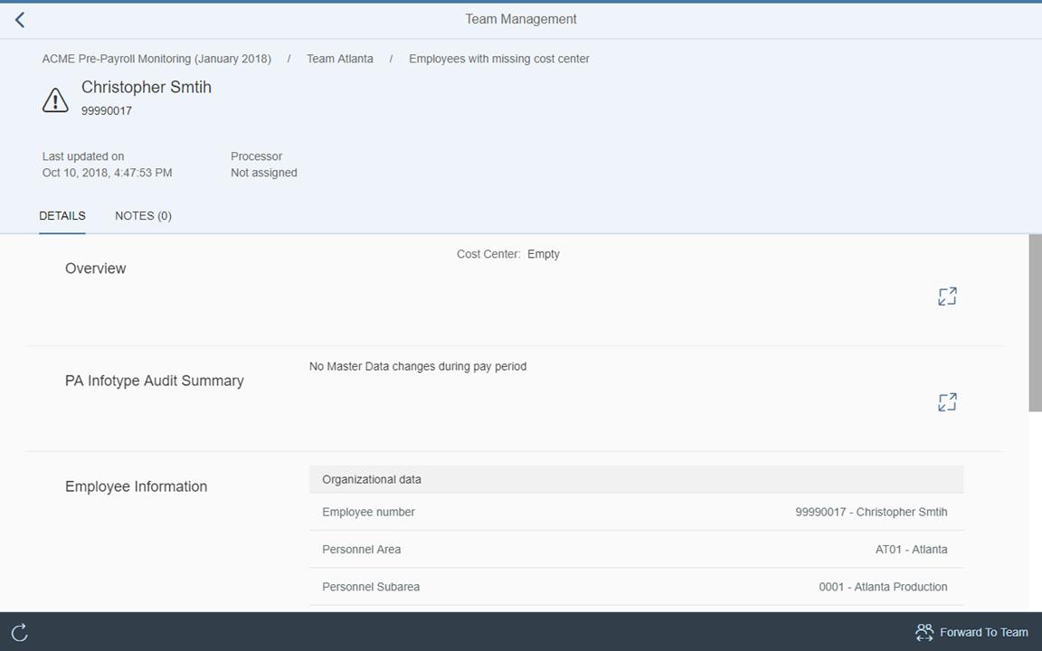 Image: Team Management employee alert details
