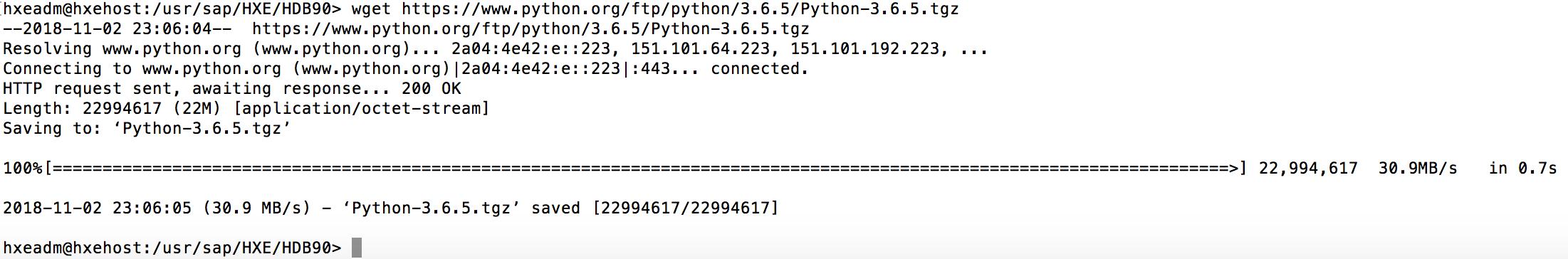 Setting up a HANA Express Python Machine Learning API Demo