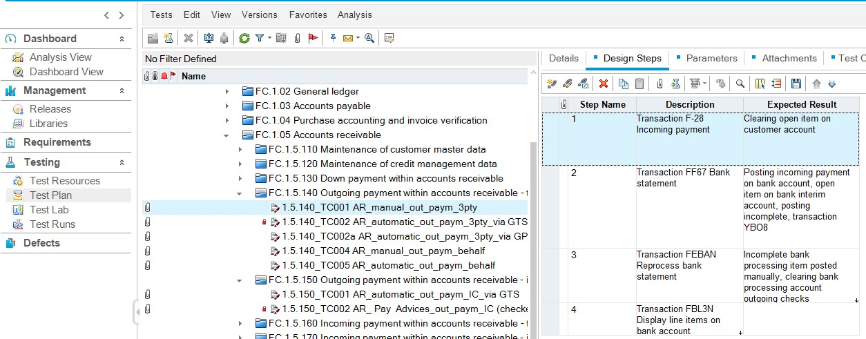 Transfer test cases from Micro Focus ALM to SAP Solution