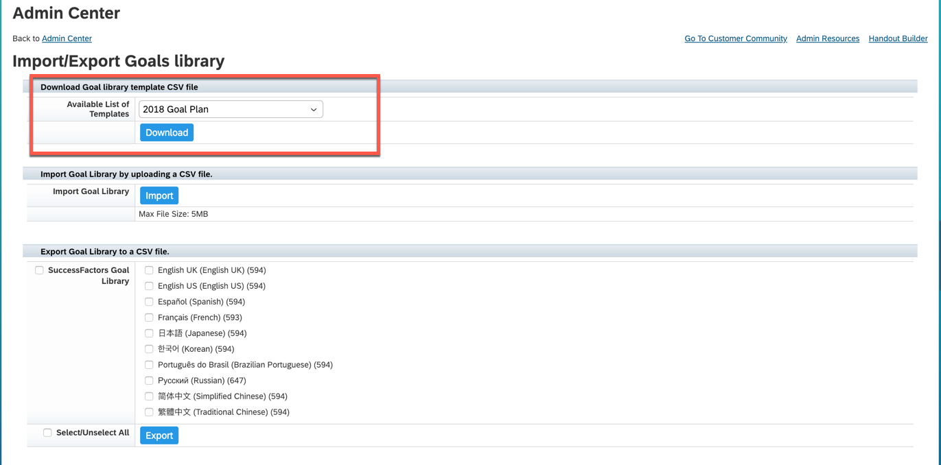 Mass upload of Custom Goal Library and Goal plans in SAP
