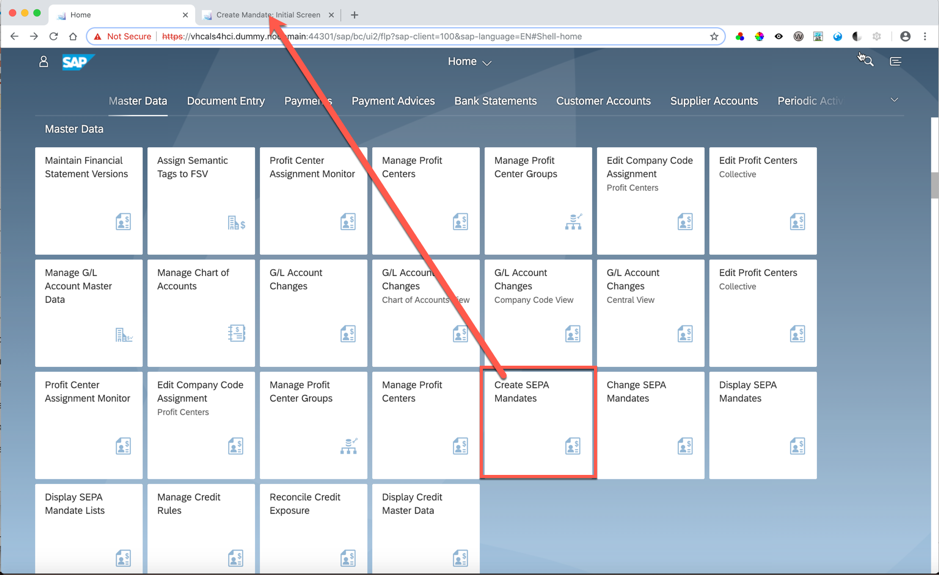 Fiori Launchpad showing launch of GUI tile to new tab