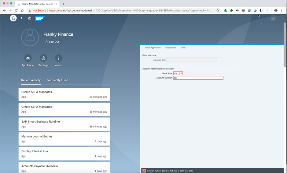 In Fiori launchpad, GUI transaction is shown as before in one tab, this time with the Me Area open