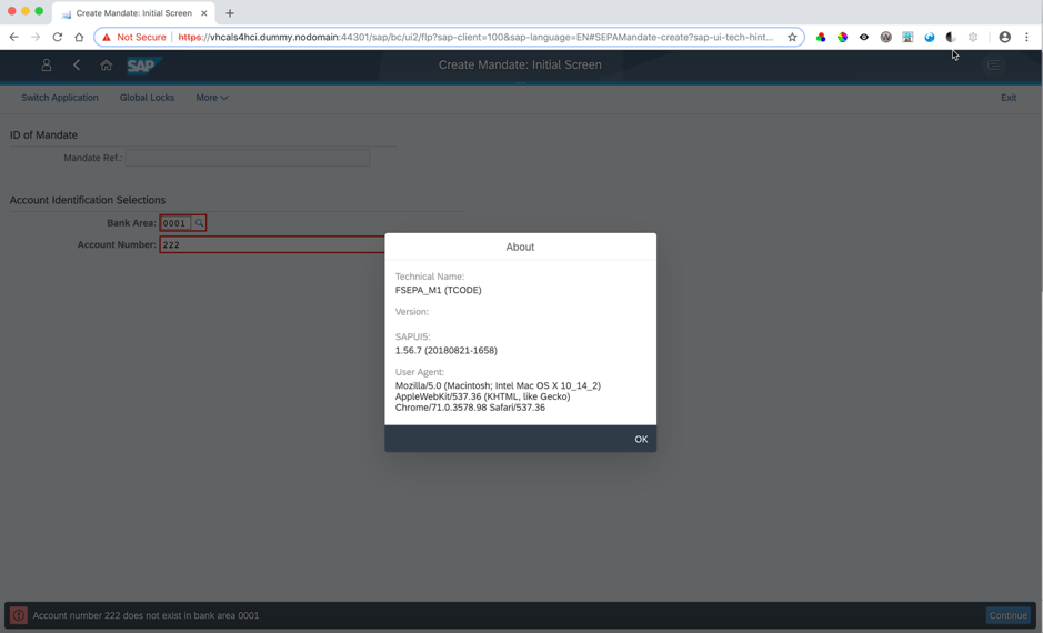 In Fiori launchpad, GUI transaction is shown as before in one tab, this time with the About Icon dialog shown superimposed on the GUI transaction