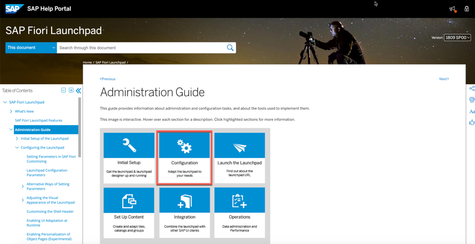 Fiori Launchpad Administration Guide front page with Configuration highlighted