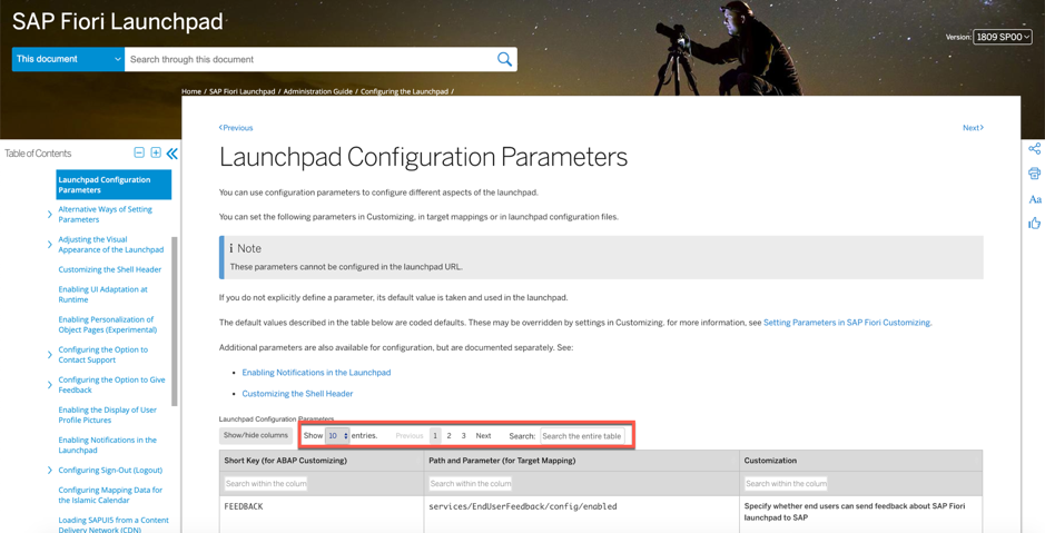 Launchpad configuration parameters page highlighting search/scroll options above the table of parameters