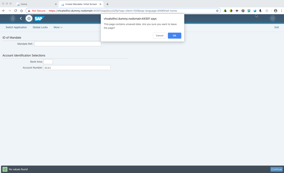 GUI Transaction in Fiori shell with Data Loss Protection dialog window open