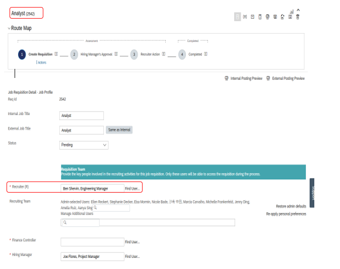 To pre-populate Recruiting operators in the Requisition form when