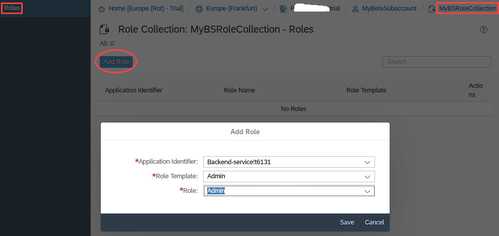 SAP Cloud Platform Backend service: Tutorial [0 2]: Roles