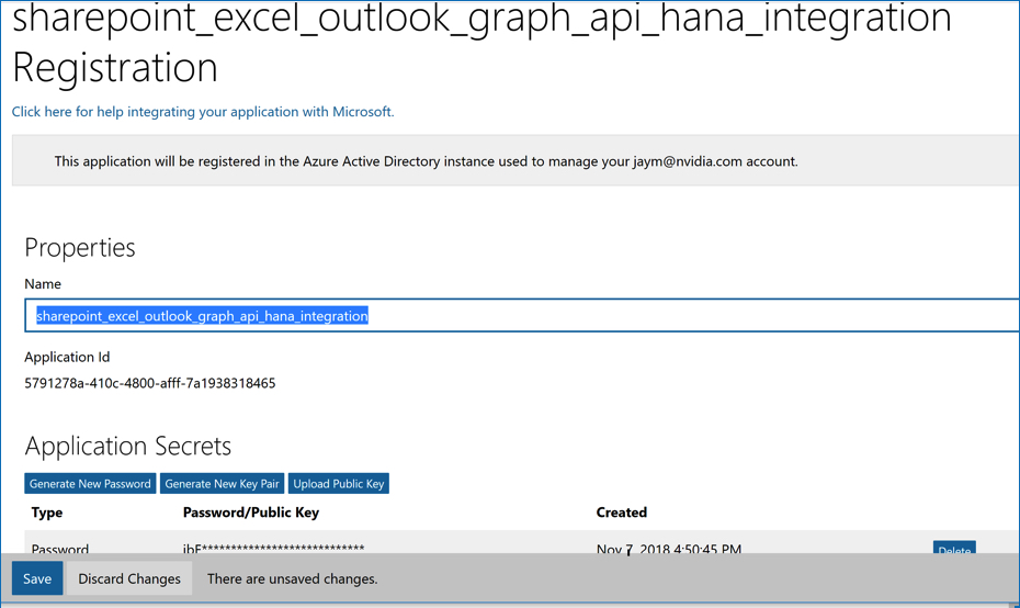 Integrating SAP HANA XSA with Microsoft Office 365 Sharepoint Excel