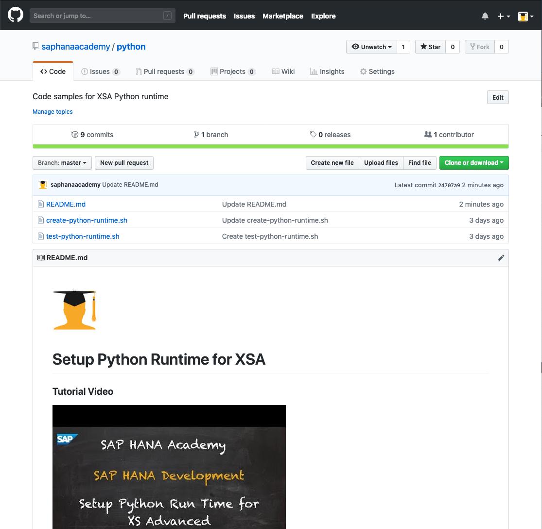 BYOR: Setup Python Runtime for XSA – by the SAP HANA Academy