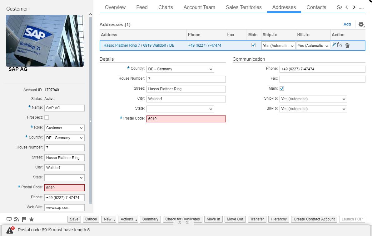 Sap Cloud For Customer Postal Code