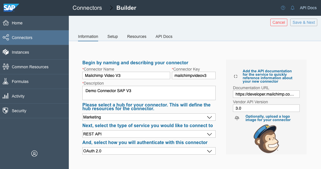 Using Connector Builder in Open Connectors – Mailchimp