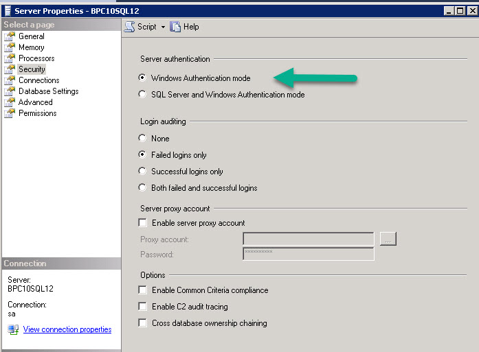 Disclosure Management – using Windows Authentication for SQL