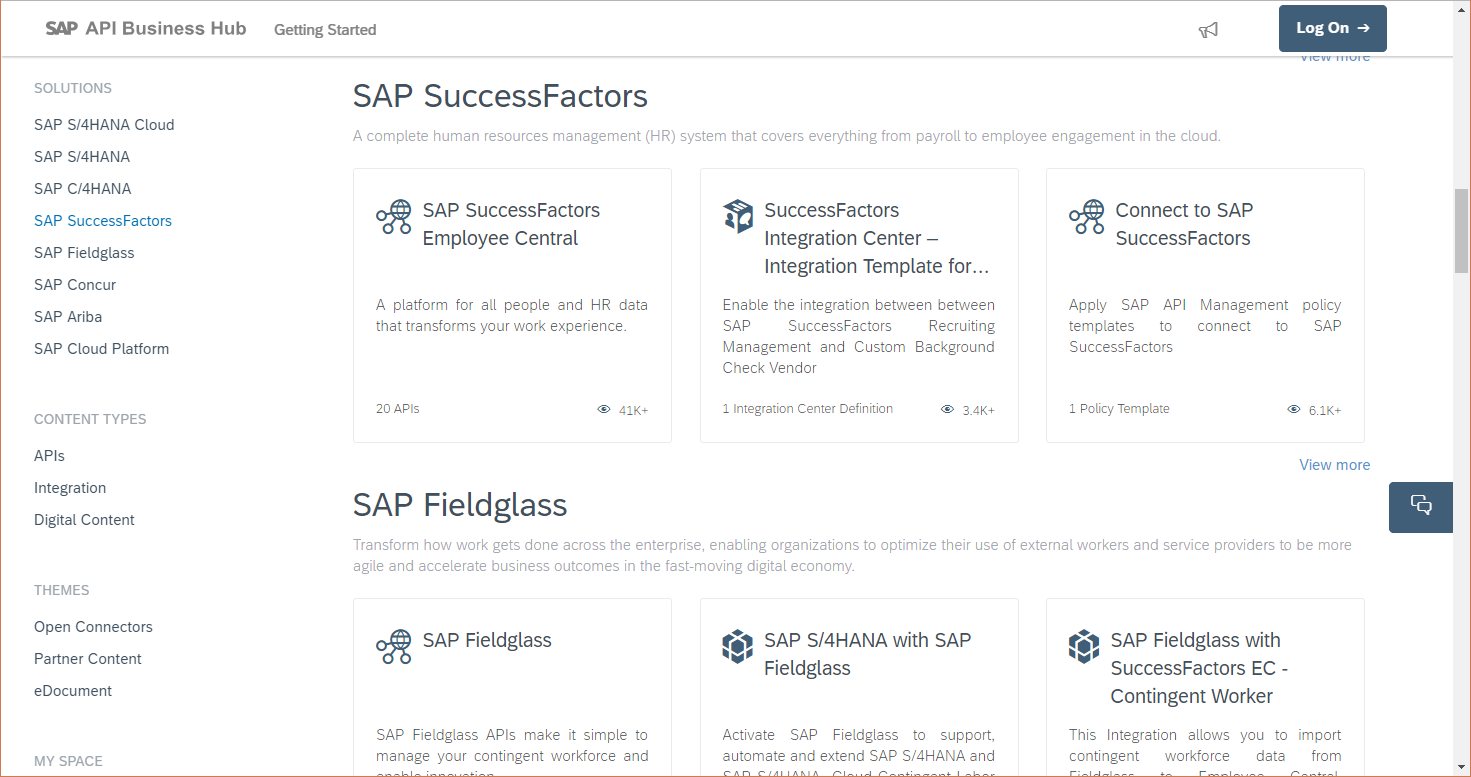 Browsing API Business Hub, filter for SuccessFactors