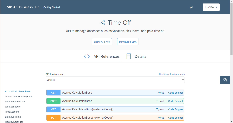 API Reference of TimeOff OData API