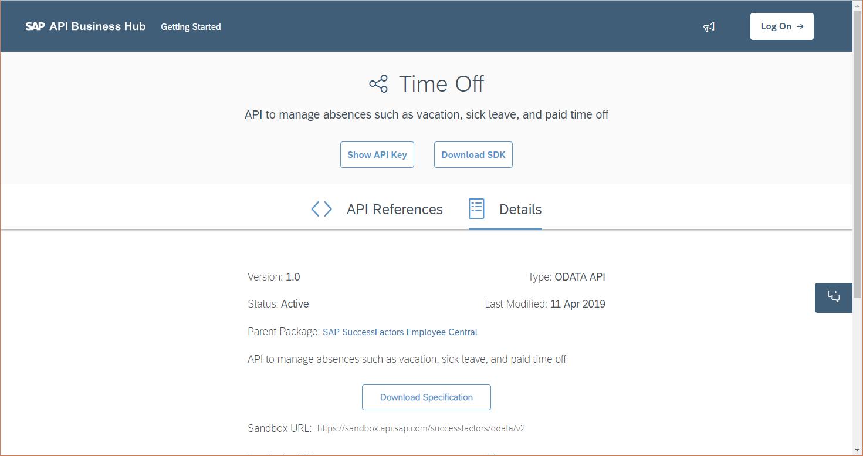 Details of TimeOff OData API