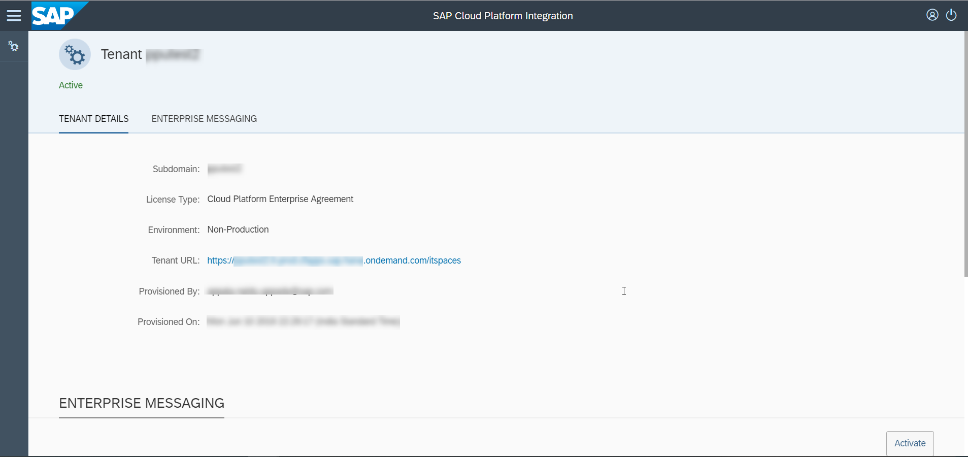 Self-Service Enablement of Cloud Integration Service on