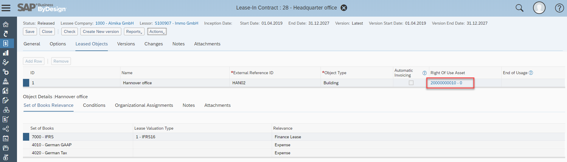 Lease Accounting for Lessees with SAP Business ByDesign