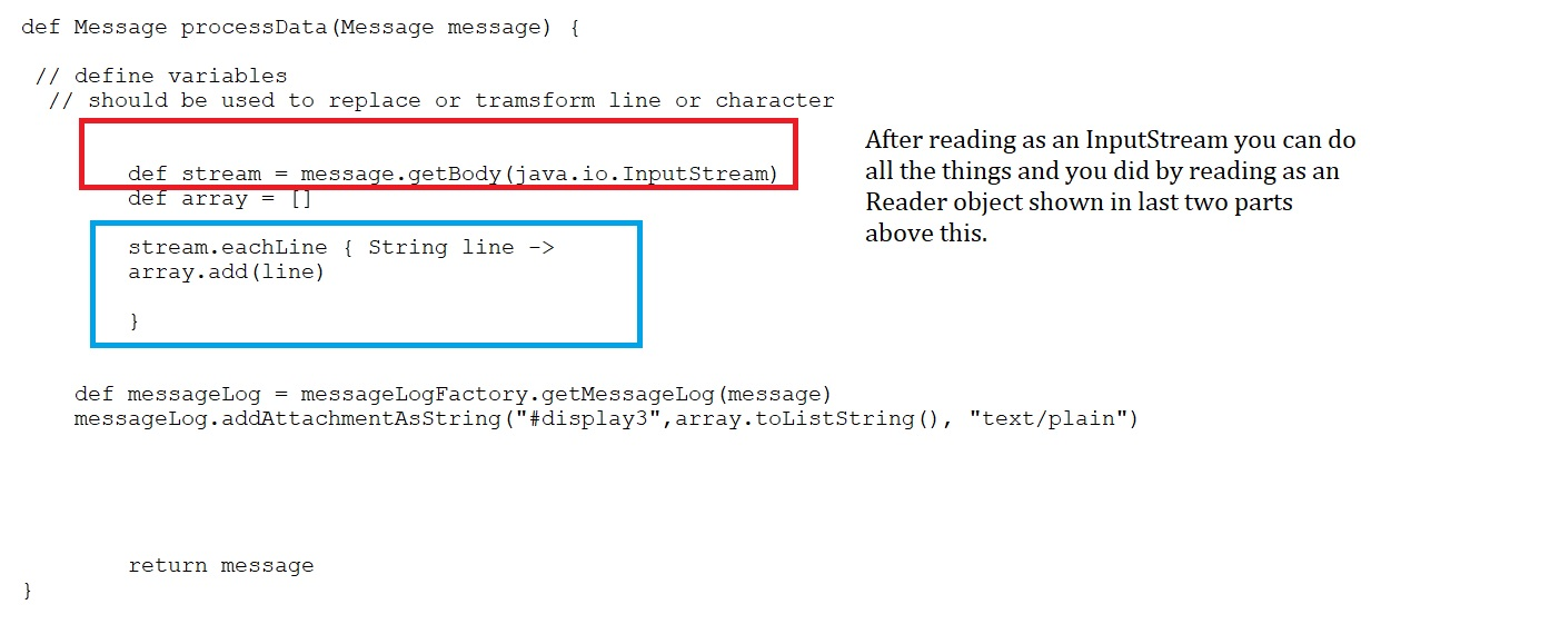 Handling text files in Groovy script of CPI (SAP Cloud