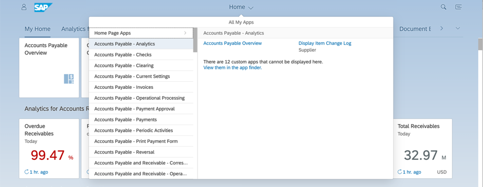 Fiori 2.0 launchpad highlighting Home icon in the middle of the launchpad header