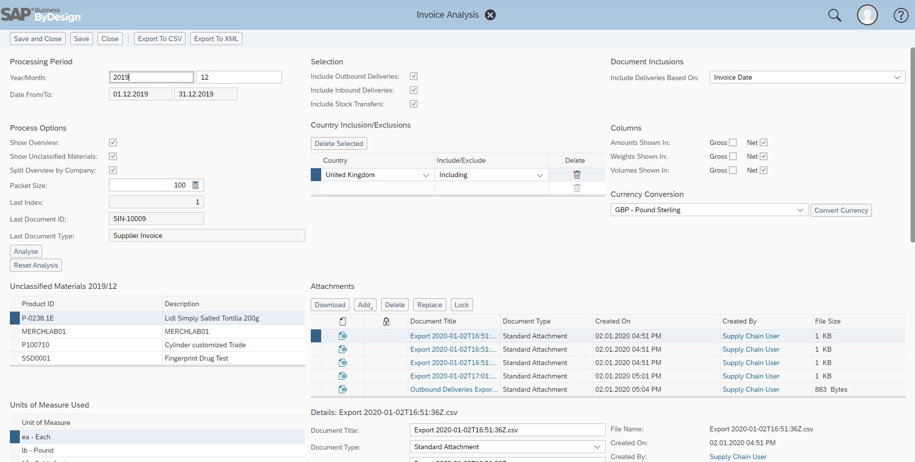 SAP Business ByDesign intrastat declaration screenshot