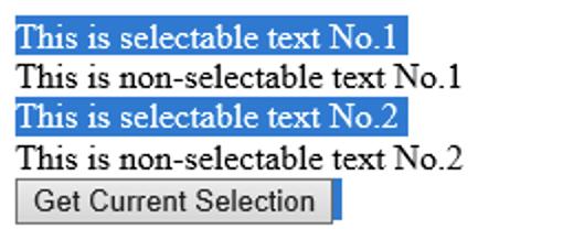 Advanced Scenario - The user selection highlighting in Edge (EdgeHTML)