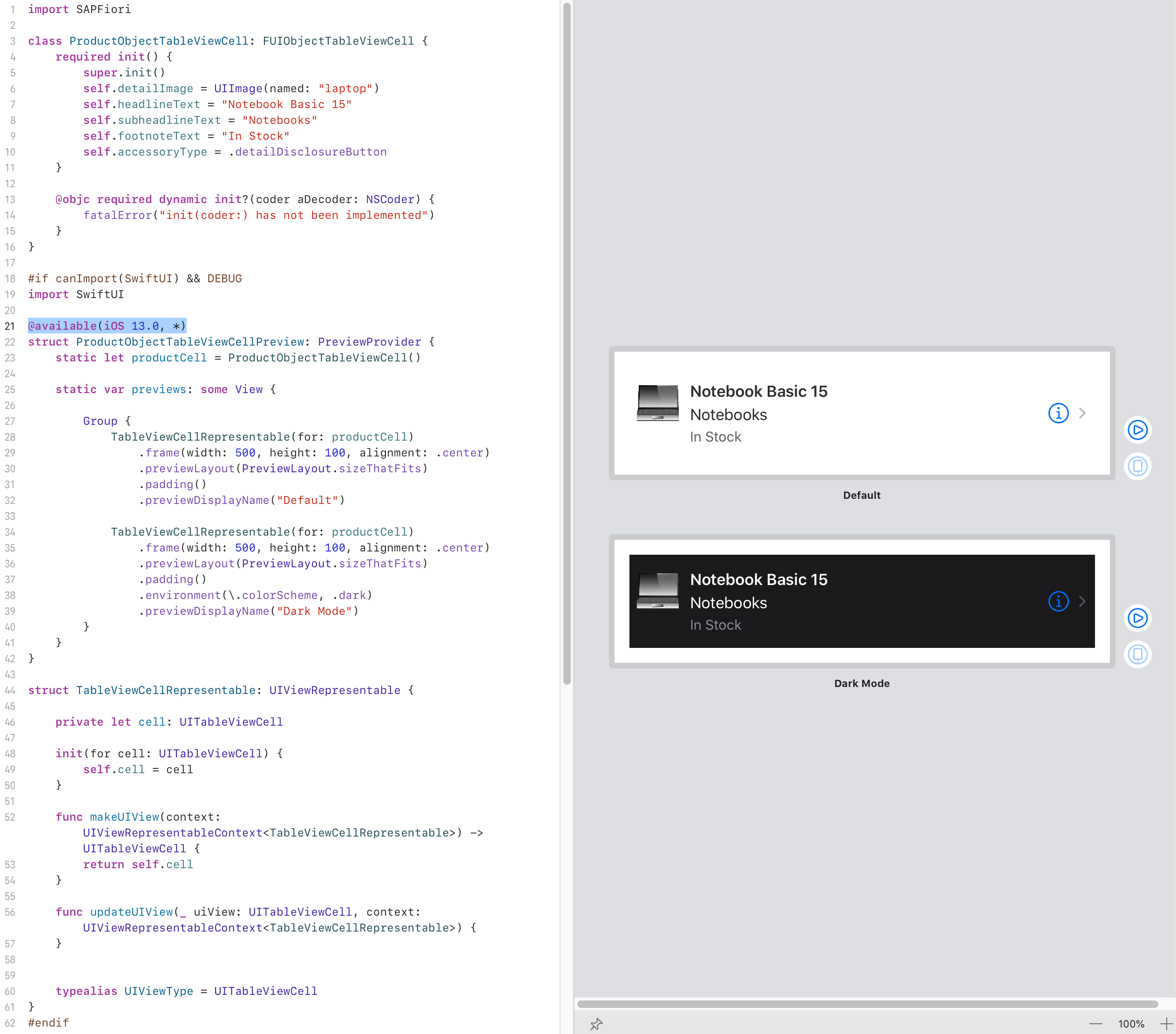 Demo%20how%20to%20use%20Xcode%20Previews%20with%20SAP%20CP%20SDK%20for%20iOS